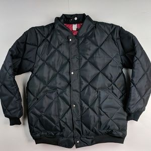 Vintage Black Quilted Coat Big Smith Style Large